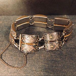 Damascene Bracelet Vintage Spanish Links